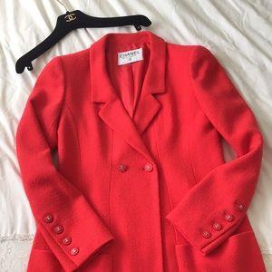 Vintage CHANEL 1996 96P Red Jacket Coat 36